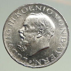 1914 D Germany German States Bavaria King Ludwig Iii Silver 3 Mark Coin I94739