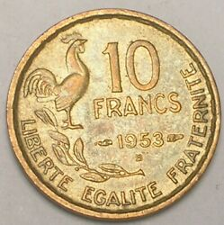 1953 B France French 10 Francs Rooster Coin Xf