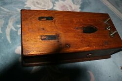Antique 1910-1940 Wall Telephone Wood Cabinet Housing For Parts Or Refurbish