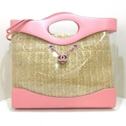 Auth  31 Shopping Bag As0517 Clear Pink Beige Womens Tote Bag
