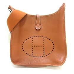 Auth Hermes Evelyne Iii Pm Gold Taurillon Clemence Square R Shoulder Bag