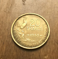 1950 France French 20 Francs Rooster Coin