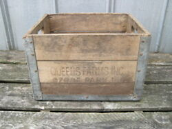 Vintage Wooden Milk Bottle Crate Box Queens Farms Dairy Ozone Park Li,ny 1960s