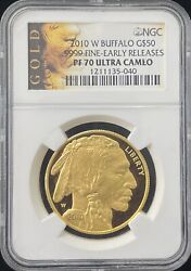 2010 W Buffalo 50 Gold Coin Ngc Pf 70 Uc Early Releases Indian Head Label