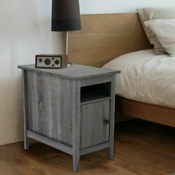 Farmhouse Nightstand Wooden Bedside End Table W/switchable Door Bedroom Decor