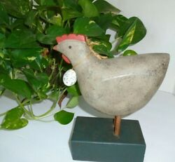 Country Farmhouse Chicken Carved Wood Figurine Decoration 9quot;H