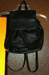 VICTORIA'S SECRET Limited Edition Backpack Bucket Purse Bag Black Faux Leather $17.99