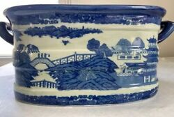 Spectacular Vtg. Victoria Ware Chinoiserie Foot Bath-blue And White Chinese Scenes
