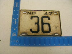 1947 47 New Hampshire Nh License Plate 36 Low Number Two 2 Digit