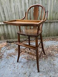Charming Rustic Antique Vintage Wooden Swing Tray Baby Feeding High Chair