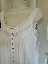 Nwt Small Queen Anneand039s Lace Eileen West Nightgown Gown New Cotton Long White