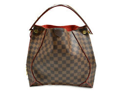 Louis Vuitton Kaisa Hobo N41555 Damier Ebne Brown Red Coated Canvas No.4863