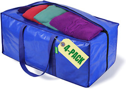 Clothing Storage Bags Heavy Duty Tote Bin Packing Supplies Space Saver 4 Pack