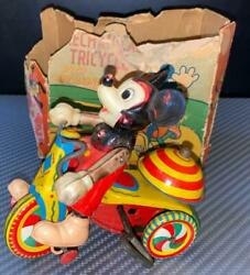 Vintage Made In Japan Line Mar Toy Celluloid Doll Tricycle Mickey Mouse