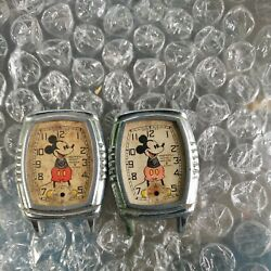 Vintage Lot Of 2 Watches 1939 Ingersoll Mickey Mouse For Parts/restore