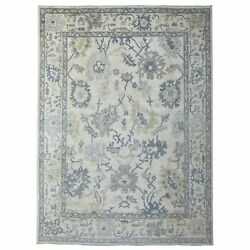 9'x12' Extra Soft Wool Ivory Angora Oushak Hand Knotted Oriental Rug R69627