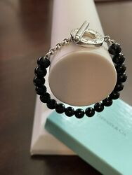 And Co. Sterling Silver 8mm Black Onyx Bead Toggle Bracelet 7 In