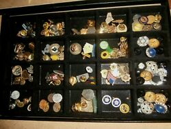 Vintage Lot Of Hat Lapel Pins Bowling Lions Vfw Religious Variety In Showcase