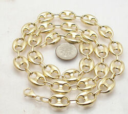 12mm Puffed Mariner Anchor Link Chain Necklace Real 14k Yellow Gold