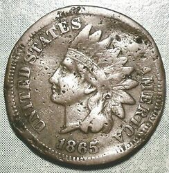 1865 Indian Head Penny Error Coin Civil War Abe Shot Ag About Good Most Liberty
