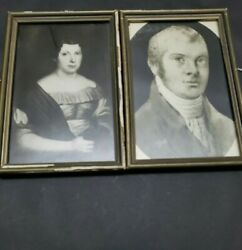 Antique 1820s German Immigrants Man And Women Framed Photo Image