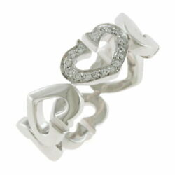 K18wg Ring Heart Diamond 54 13.5 Silver Women And039s Fashionable No.930