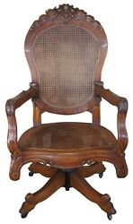 Antique French Carved Oak Caned Office Executive Desk Swivel Arm Chair Victorian
