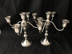Pair Of Duchin Creation Sterling Silver Five Light Candelabras