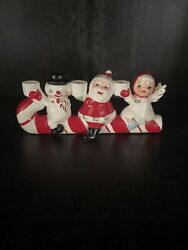 Vintage Christmas Candy Cane Candle Holder Snowman Santa And Angel