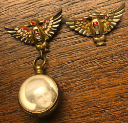 Antique Wwii Sterling Craft Coro Usa Patriotic Eagle Sweetheart Pins
