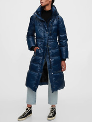 New Gap Xlt Xl Tall Navy Upcycled Long Water Resistant Puffer Coat Jacket 16