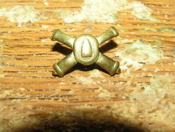 Vintage Wwii Coastal Artillery Crossed Cannons Brass Pin