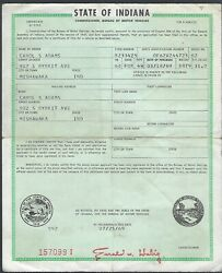1960 Ford Ranch Station Wagon 4 Door Indiana Car Title Signed Document