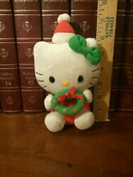 7quot; Hello Kitty with Christmas Wreath Ty Plush by Sanrio Beanie Babies 2011