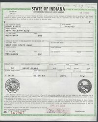 1963 Ford Galaxie 500 2 Door Hardtop Indiana Car Title Signed Document