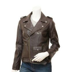 Womenandrsquos Classic Brown Leather Biker Jacket / Leather Coat Nappa Leather