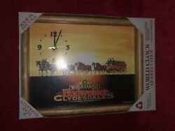 New In Box 1995 Framed World Famous Budweiser Clydesdale Beer Clock Americana