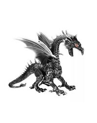 69in. Halloween Giant Animated Black Silver Dragon Home Depot Excl. Red Led Eyes