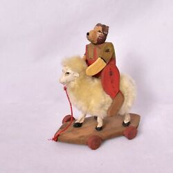 Wooden Antique Sheep Toy Home Decor