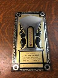 Vintage J.h. Gephart Service Station Art Deco Mirrored Thermometer Canton, Ohio