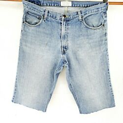 American Eagle 36 Waist Cut Off Mens Jean Shorts Loose Fit Jorts Stone Washed