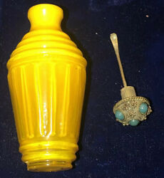 Antique Rare French Mustard Yellow Blown Art Glass Fragrance Snuff Bottle