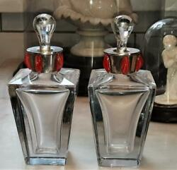 Pair Of Exquisite Art Deco Perfume Bottles With Bejewelled Silver Collars