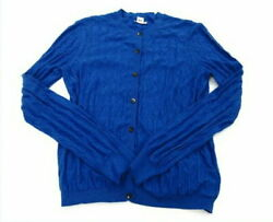 Hermes Women And039s Long Sleeve Cardigan Cotton Cashmere 36 Free Shipping No.7379