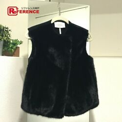 Hermes Gilet Women And039s Outer Vest Fur Black Previously Owned No.7338