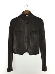 Hermes Jacket 38 Leather Deer Blk Wool 90 Cashmere 10 Switching No.7899