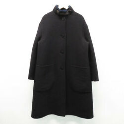 Hermes Wool Coat Black System 36 Women And039s Previously Owned No.7954