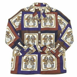 Hermes Silk Scarf Print Shirt Blouse Women And039s Size38 W000073 Previously No.8828