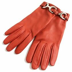 Hermes Metal Fittings Lining Silk 100 Lamb Leather Gloves Gloves No.678