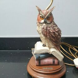 Great Horned Owl On Books Lamp Hand Finished By A Belcari Limited Edition